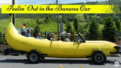 Try to resist peeling out in the giant banana car
