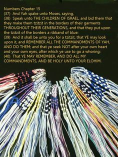 "This IS a Commandment -- tie ""fringes"" (Tzit-tzit) your garments to remind you of Father's Word/TORAH, Commandments."