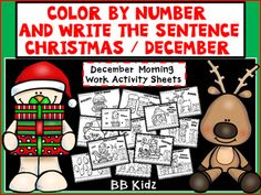 This is a great way to start each morning in December. The students use the color code and color the numbers by the code. After coloring the students write a sentence about the picture. There are two versions of each page for differentiation. Version one is where the students create their own sentence.