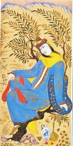 Woman Seated in a Tree 1616. Riza Abbasi, the most renowned Persian court artist of the Isfahan School, Safavid period.