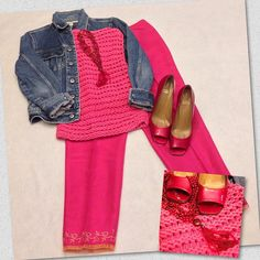 14 Days of Valentines. Day 13. Love in the 90s with high-waisted cropped pants. Bright pink silk pants from Ann Taylor and a matching pink knit sweater from DKNY. And no 90s outfit would have been complete without a denim jacket. Accessorized with red beads and red pumps from Stuart Weitzman. #thriftscoring #thriftstyle #valentinesdayoutfit #valentinesday #anntaylor #stuartweitzman #denim #pink