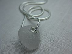 Amethyst Sea Glass Minimlist Handmade Necklace - Small Sea Glass Simple Jewelry Design by SeaglassWithATwist