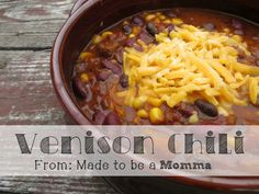 This Venison chili is sure to warm you on those cold winter nights! The venison can be easily swapped with beef to make this a chili anyone is sure to love! Deer Recipes, Chili Recipes, Soup Recipes, Game Recipes, Venison Recipes, Crockpot Recipes, Cooking Recipes, Healthy Recipes, Venison Chili Recipe