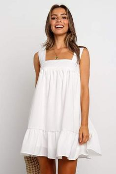Orabelle Dress - White, S Grad Dresses, Dress Outfits, Fashion Dresses, Cute Outfits, Cute White Dress, White Dress Summer, White Dress Casual, Simple Dresses, Cute Dresses