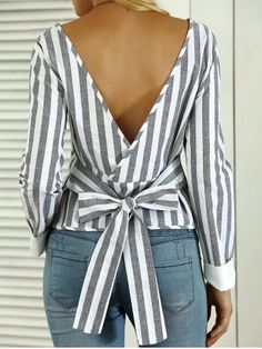 GET $50 NOW   Join RoseGal: Get YOUR $50 NOW!http://www.rosegal.com/blouses/striped-open-back-bowknot-blouse-685008.html?seid=7102040rg685008