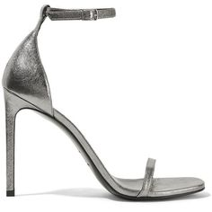 Saint Laurent Jane metallic textured-leather sandals (£500) ❤ liked on Polyvore featuring shoes, sandals, heels, sapatos, zapatos, metallic high heel sandals, strappy sandals, strap high heel sandals, metallic shoes and high heel shoes