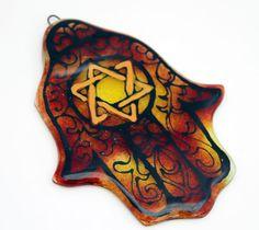 Jewish Judaica Home Blessing  Hamsa   kabbalah Art by virtulyglass, $42.00