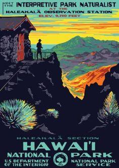 Gorgeous Vintage Travel Poster! Hawaii National Park~Haleakala Observatory Station, 1930