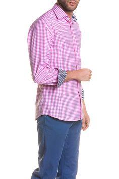 ca6ca006d3393 Camisa Vichy Bicolor Rosa London Cuello Italiano Slimfit