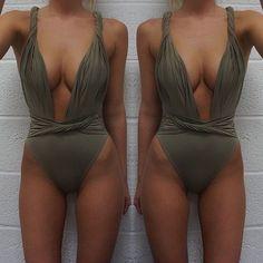 2016 Summer sexy high waist deep v neck one piece girls beachwear swimwear Women bathing suit Beach Jumpsuits