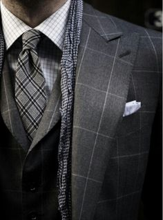 Solid proof that a charcoal check three piece suit and a white and blue plaid dress shirt look amazing when you pair them up in an elegant ensemble for today's gentleman. Gentleman Mode, Gentleman Style, Dapper Gentleman, Look Man, Mens Fashion Blog, Men's Fashion, Fashion Gallery, Fashion Shoot, Winter Fashion