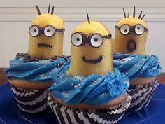 Despicable Me Minions cupcakes!!!! http://media-cache1.pinterest.com/upload/129267451774375632_Taj3F2r4_f.jpg tkeaney stuff for the kiddos