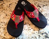 Disney Flip Flops Featuring Mickey and Minnie - Hand Painted - Yellow Box Brand