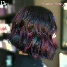 """""""Oil slick"""" balayage ✨ such a fun color! more multi-tones please! in this technique i used thick slices to balayage underneath her hair with Oil Slick Hair Color, Cool Hair Color, Dark Hair With Color, Kids Hair Color, Hidden Hair Color, Ombre Rose Gold, Hair Color 2018, 2018 Color, Dyed Hair"""