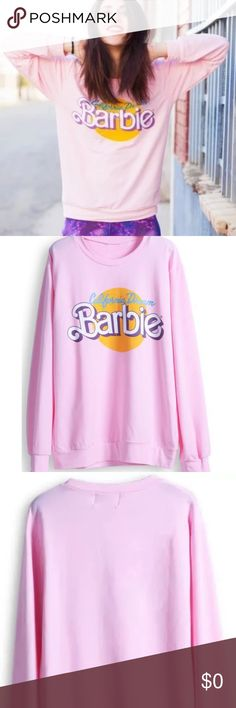 BARBIE 'California Dream' oversized sweatshirt Show off your Barbie love with this adorable, super soft lightweight oversized summer sweatshirt featuring 80's style Barbie lettering and the phrase 'California Dreamin' !!  Absolutely adorable and BEACH PERFECT!!! Beautiful, boutique quality sweatshirt!!! ONE SIZE FITS MOST XS-L *TAGGED WILDFOX FOR SEARCH VISIBILITY* Wildfox Tops Sweatshirts & Hoodies