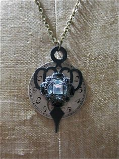 Steampunk Pendant - Cultivated Beauty - Steampunk watch parts Necklace- Repurposed art
