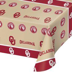 Univ of Oklahoma 54 x 108 Plastic Tablecover/Case of 12 Tags: University of Oklahoma; Tablecover; Collegiate; University of Oklahoma Tablecover;University of Oklahoma party tableware; https://www.ktsupply.com/products/32786326431/Univ-of-Oklahoma-54-x-108-Plastic-TablecoverCase-of-12.html