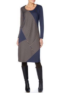 Sahara Dot & Stripe Jersey Panel Dress