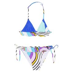 * New Fall'18 Collection *  Stunning colorful bikini set in vibrant summer colors by Emilio Pucci for girls. This bathing suit features colors of Pucci's womenswear collection and will make your girl look fabulous this summer! It has side fringes and an adjustable neck strap.  Iconic Pucci Colors Inspired by Womenswear Collection Adjustable Neck Strap Ultimate Summer Item! 72% polyamide, 28% elastane Machine Wash