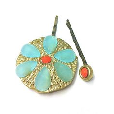 Bobby Pins Blue Red now featured on Fab.