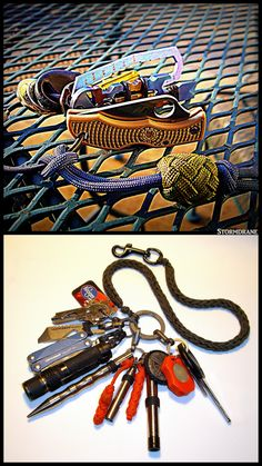 https://flic.kr/p/soZY2W   More often than not edc keychain   The top photo is the 'lightweight' edc (everyday carry) keychain option, with paracord lanyard/fob and gaucho knot covered wooden bead, I chose to use yesterday before heading out to the blood mobile, thinking the nurses might have me step on the scale to ascertain my actual tonnage, and I just wanted to shave off an ounce or two here and there, also swapping out the Leatherman Juice Pro multitool that I might have carried in another pocket for a smaller Wenger Swiss Army Knife, and opted not to tote the leather coin pouch with $4 of loose change and have to pass up any inviting vending machines on my journey with regret.  The lower photo is the loaded edc keyring I carry in my left front pocket with lanyard attached to a belt loop or sometimes a paracord attachment on the belt, more often than not, and having a larger waist-to-hip ratio than I should means gravity is not my friend in matters of the weighty 'Be Prepared' pocket contents of my britches and tactical belt, where I keep my cell phone in a pouch, and sometimes a multitool pouch, but suspenders do help.  I like to keep a handkerchief/bandana in my left cargo pants pocket, and my overstuffed (George Costanza) wallet in my right cargo pocket.  I don not like to keep anything at all in my back pockets, and with the bdu/cargo type that I prefer, they have buttons back there which are just aggravating to fiddle with, but necessary to keep from losing stuff, so I've just settled with the keep 'em empty route... wink emoticon   I did recently renew my firearms license, so I have on occasion, over the last twenty-five years, carried various pistols and revolvers holstered in pockets/waistband or on my belt when out and about, and suspenders were really a 'must' when packing anything bigger than a .22, lol...