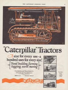 Vintage 1926 Original Caterpillar Tractor by Walternates on Etsy, $6.99