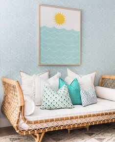 Calming Blue Rooms to Counteract the Stress of 2020 | Rue Linear Pattern, Honeycomb Pattern, T Home, Traditional Wallpaper, Blue Rooms, Peel And Stick Wallpaper, Living Room Bedroom, Designer Wallpaper, Home Textile