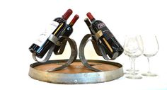 Wine Barrel Head Bottle Holder-V6- 100% recycled Napa barrels - Perfect for parties!