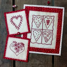 Patchwork Hearts are FUN to Hand Embroider in RedWork and Give as a Special Gift! The Patchwork of Hearts will make a great little wall hanging framed in red and white fabrics or make it the center of a personal little pillow. Embroidery Patterns, Hand Embroidery, Machine Embroidery, Bird Brain Designs, Patchwork Heart, Muslin Fabric, White Fabrics, Special Gifts, Hearts