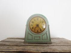 Vintage Art Deco Alarm Clock Mint Green by LittleRedPolkaDots, $45.00