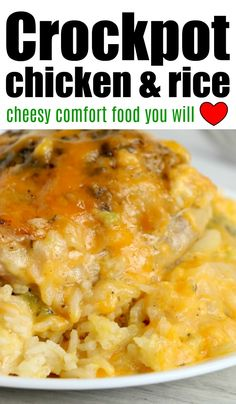 Crockpot chicken and rice recipe that is cheesy and perfect with chicken breasts or chicken thighs. Slow cooker chicken for the win. recipes chicken and rice Crockpot Chicken and Rice Crockpot Cream Of Chicken, Chicken Thigh And Rice Recipe, Slow Cooker Chicken Thighs, Chicken Thigh Recipes, Cheesy Chicken And Rice Crock Pot Recipe, Salsa Chicken, Creamy Chicken, Chicken Pasta, Grilled Chicken