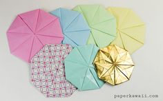 Make an origami octagonal tato to use as a coaster! This eight sided origami Tato (or pouch) is almost round and makes a great coaster for your desk! Origami Quilt, Origami Envelope, Origami Paper, Oragami, Paper Houses, Coasters, Mandala, Diagram, Paper Crafts