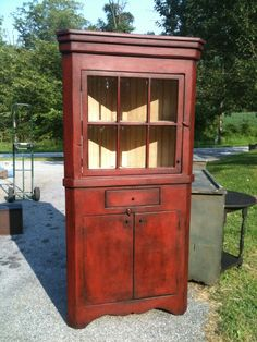 Shop for a West Chester Corner Cupboard and other quality painted cabinets at Painted Furniture Barn. Corner Cabinets, Corner Cupboard, Diy Cabinets, Primitive Kitchen, Primitive Decor, Refurbished Furniture, Furniture Makeover, Furniture Projects, Painted Furniture