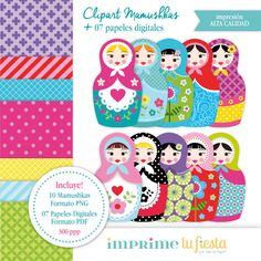 Mamushkas Kit de Clip Art y Papeles Digitales por ImprimeTuFiesta