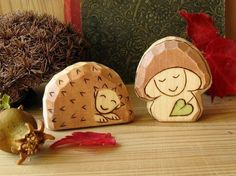 Hedgehog and mushroom gnome  waldorf toy  fall nature by Rjabinnik, $14.00