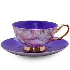 satin shelley purple bone china cup and saucer