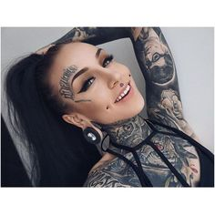 Monami Frost, look at this beauty Tattoo Girls, Girl Face Tattoo, Girl Tattoos, Monami Frost, Dimple Piercing, Facial Piercings, Ear Piercings, Full Body Tattoo, Body Art Tattoos