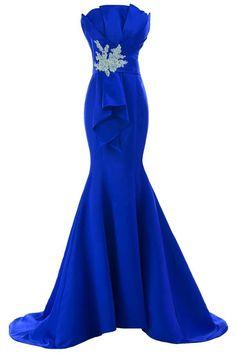 Sunvary Neu Mermaid Traegerlos Abendkleider Lang Satin Ballkleider Partykleider: Amazon.de: Bekleidung