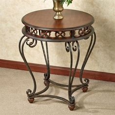 Touch of Class Addney Round Accent Table Regal Walnut Folding Furniture, Iron Furniture, Steel Furniture, Repurposed Furniture, Furniture Online, Plywood Furniture, Painted Furniture, Modern Furniture, Furniture Design