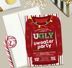 Ugly Sweater Party Invitation, Christmas Invite with envelopes