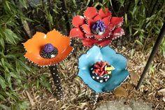 Ceramic Garden Flowers Garden Art Aquarium by BeTheOcean