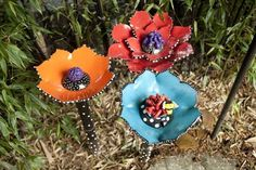 Ceramic Garden Flowers Garden Art Aquarium by BeTheOcean