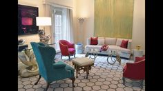 Interior design by Preston Lee. Our clients NYC living room. Love all the color and vintage pieces.
