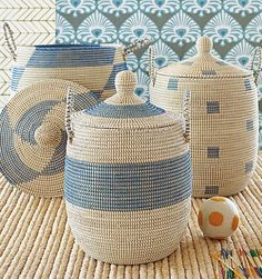 Blue Storage Baskets with a Beach Vibe: http://beachblissliving.com/wicker-baskets-beach-decor/