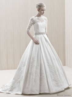 wedding dress by blue by enzoani - love the 3/4 sleeve very elegant and vintage looking