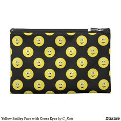 Yellow Smiley Face with Cross Eyes Travel Accessory Bag. Lots of funny cartoon yellow smiley faces with silly crossed eyes on a black background. To change the background colour click on the customize button.#ad