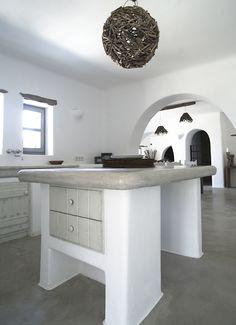 Paros, Greece. Kitchen island by cement mortar.