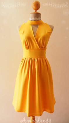 Mustard Yellow Bridesmaid Dress Vintage Inspired Fit by Amordress