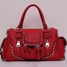New,Solid Pattern Stud Decorate Purse, Pocket & Buckle Accent Satchel,NWT ebay 36.00ebay seller
