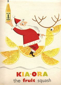 Mid Century Modern Santa. Kia-ora ad, 1954* Free 1500 paper dolls at Arielle Gabriels The International Paper Society also free China Japan paper dolls The China Adventures of Arielle Gabriel for Pinterest friends *